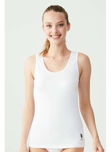 U.S. Polo Assn. Kadın Siyah 2'li Lyc. Kalın Askılı Atlet Beyaz